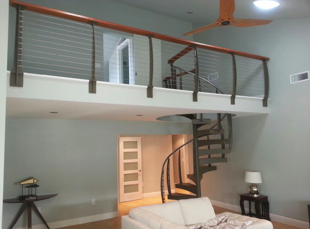 Spiral Stairs With Cable Railing In Florida