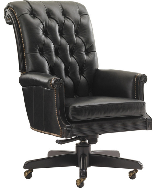 Breckenridge Cascade Desk Chair In Rich Black Leather Front Traditional Office Chairs