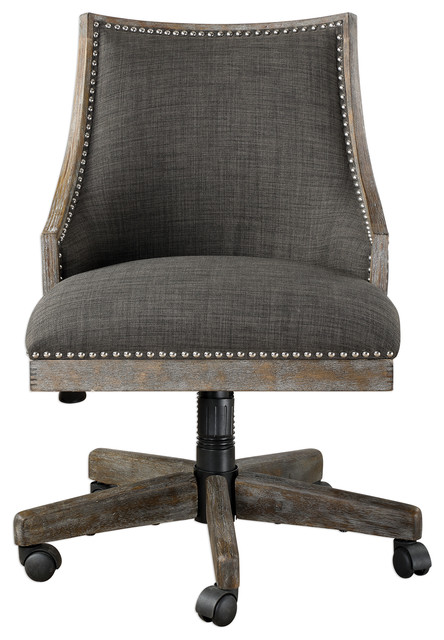 Retro Curved Back Charcoal Gray Upholstered Desk Chair Office Wheels Rolling Farmhouse Office Chairs By My Swanky Home