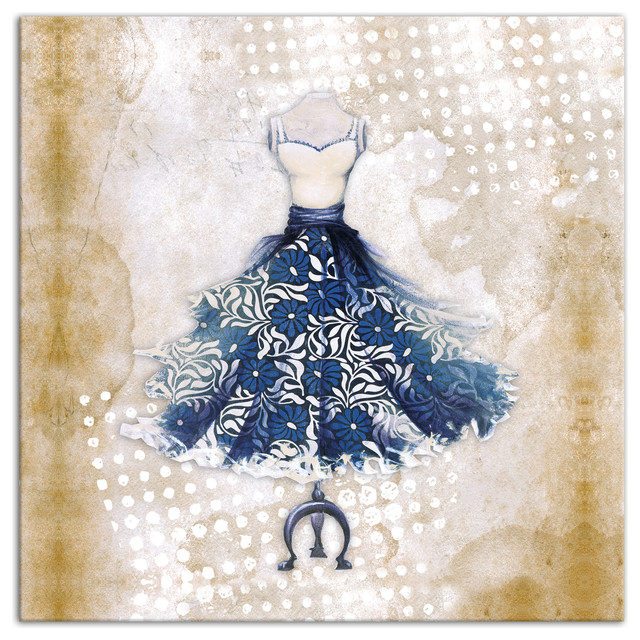 Vintage Dress Wall Decor : Quot blue frilly vintage dress canvas wall art