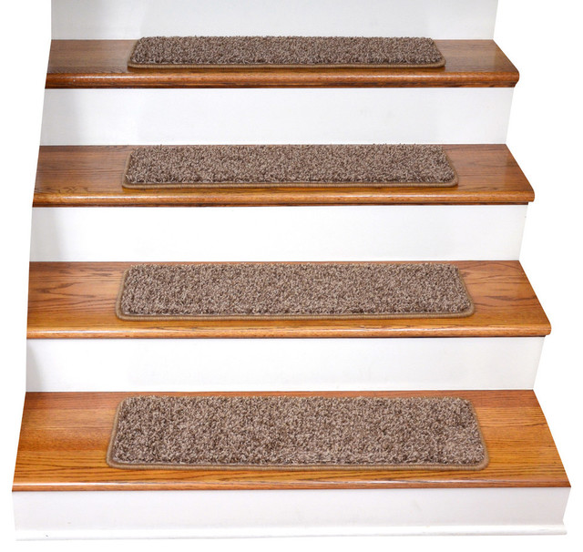 Tape Free Non Slip DIY Carpet Stair Treads, Set Of 15, Brown Contemporary