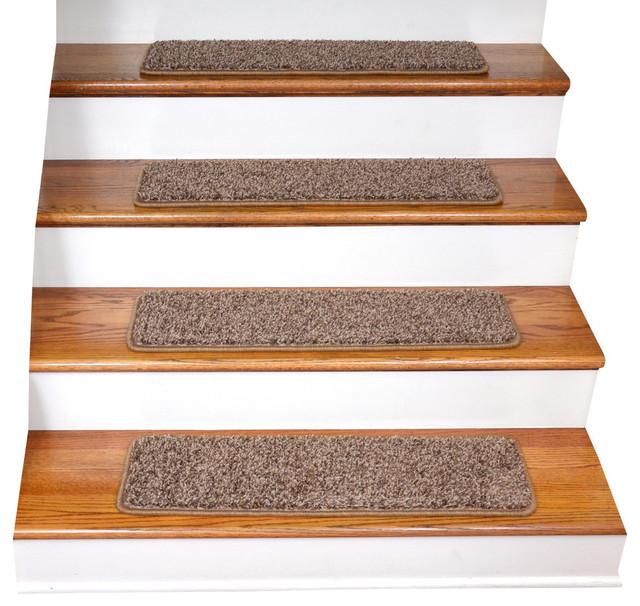 Tape free non slip diy carpet stair treads set of 15 for Jardin stair treads