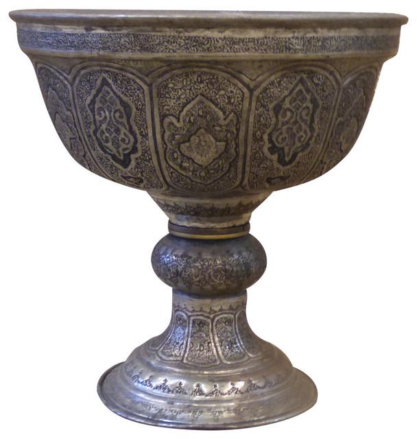 Persian Engraved Vase Ghalamzani 12x12 Mediterranean Vases