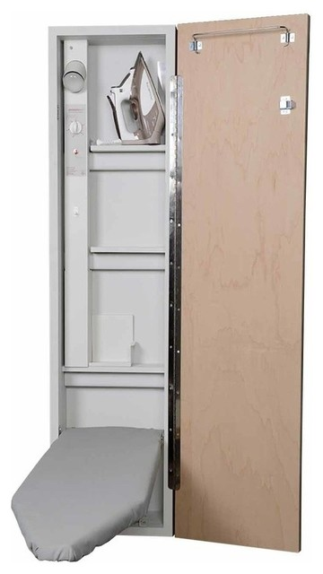 Premium Electric Ironing Center, Raised Pine Door.