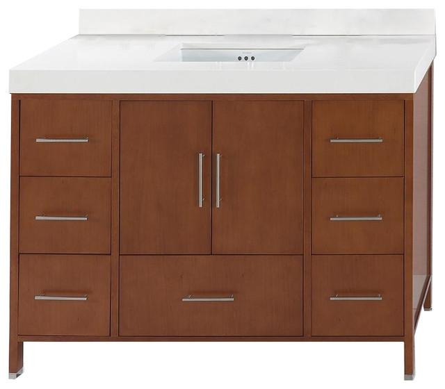 Ronbow Juno Solid Wood 48 Vanity Cabinet Base, Cinnamon.