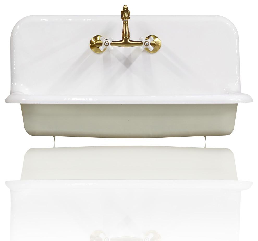 "new 36"" high back farm sink cast iron original porcelain"