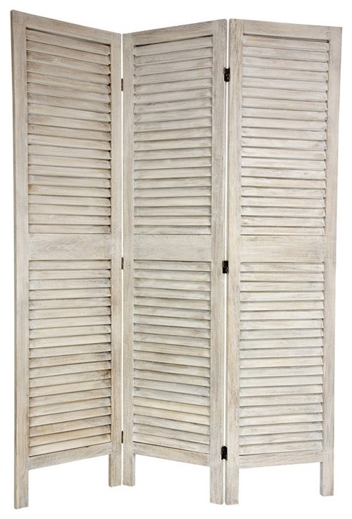 6 ft. Tall Classic Louvered Slat Venetian Room Divider mediterranean screens and wall dividers