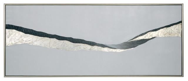 """""""Frequency"""" Painting With Silver Floater Frame, 30""""x72"""""""