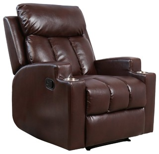 Bonzy Recliner Chair Modern Theater Seating 2 Cup Holder Brown Leather Chair