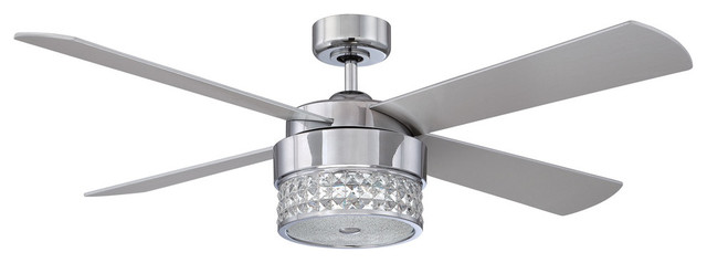 Celestra Ceiling Fan With Optic Crystals, Chrome, 52