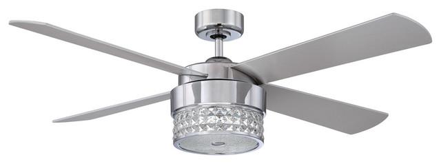 "celestra 52"" chrome & optic crystal ceiling fan - contemporary"