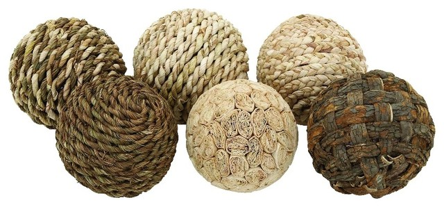 Home Decor Balls Endearing Woodland Imports  Balls Woven Set Of 6 Shades Of Brown Beige Inspiration