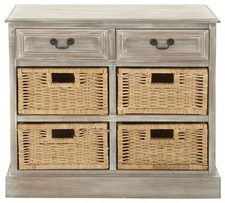 Rustic Country Wood 4-Baskets Dresser, Taupe