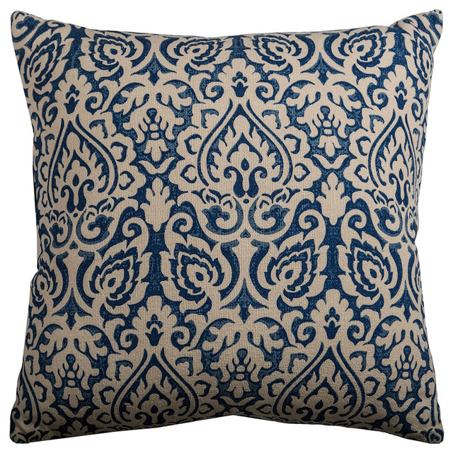 22 In. X 22 In. Navy Decorative Pillow With Cotton / Polyester