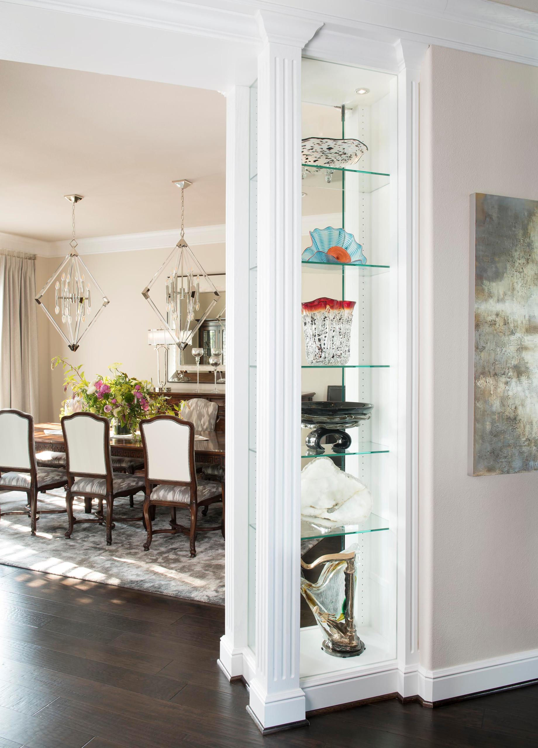 Modern Mediterranean Dining Room with Display Shelves