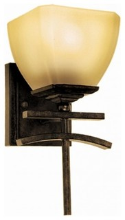 1 light vanity in venetian bronze frame arts crafts for Arts and crafts bathroom lighting