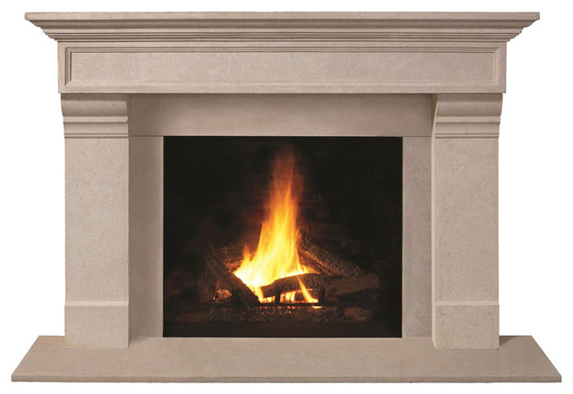 Fireplace Stone Mantel 1111.556 With Filler Panels, Buff, With Hearth Pad.