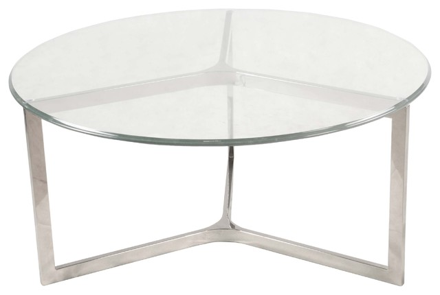 Monza Round Coffee Table With Glass Top, Stainless Steel Contemporary Coffee  Tables