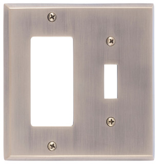 Vanity Light With Gfci Outlet : Quaker Double, 1-Switch With 1-GFCI - Modern - Switch Plates And Outlet Covers - by BRASS ...