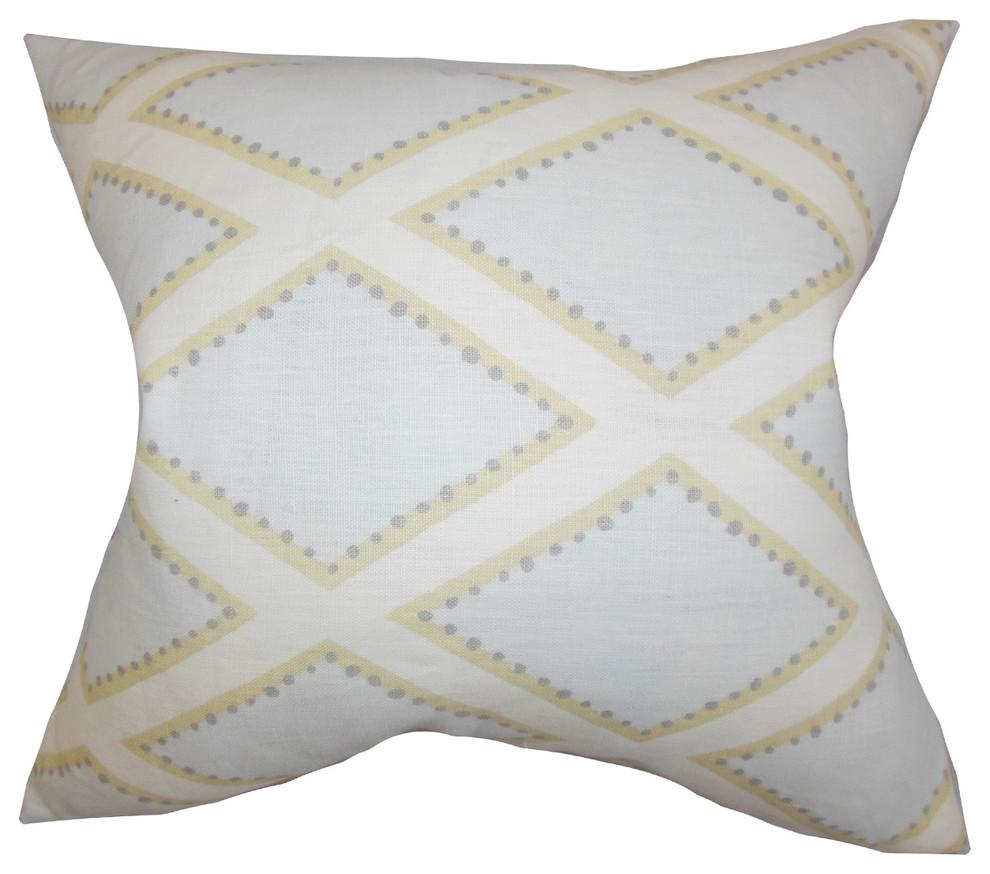 The Pillow Collection Reijo Geometric Bedding Sham Linen Euro//26 x 26