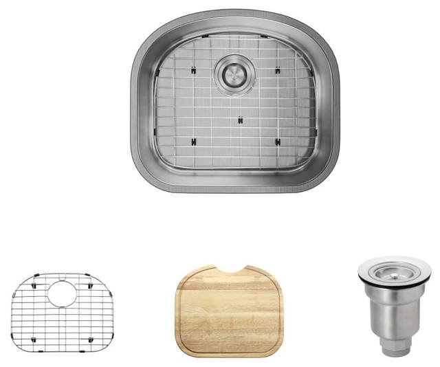 R1-1017 D-Bowl Stainless Steel Kitchen Sink, 18-Gauge.