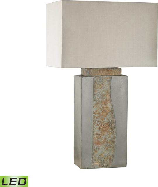 Musee Outdoor Table Lamp - Grey,natural Slate, Led (medium Base).