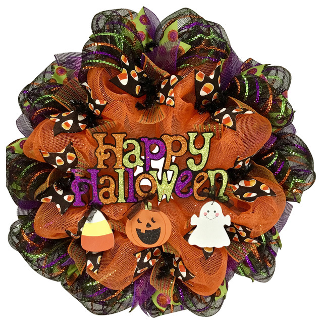 Happy Halloween Wreath With Dangling Ghost, Candy Corn, Pumpkin Deco Mesh.