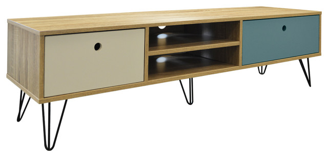 Industrial Low Wide Entertainment Storage Unit With 2-Drawer, Oak