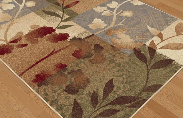 Emilie Transitional Floral Multi-Color Rectangle Area Rug, 8&x27; X 10&x27;.
