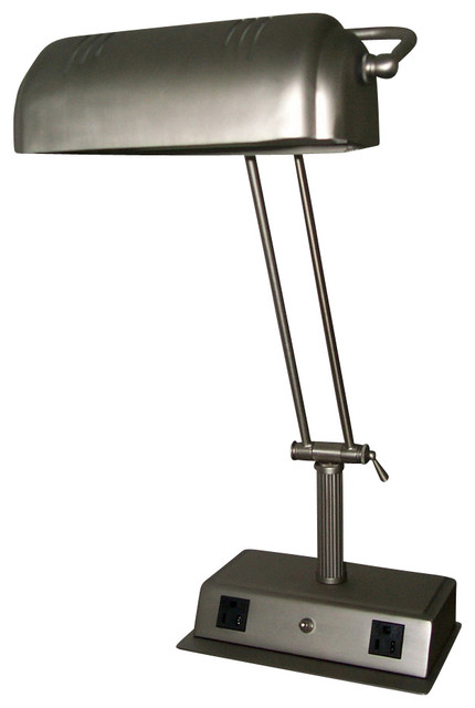 Wonderful Cal Lighting LA 623A BS 60 W Desk Lamp With Two Outlet Traditional