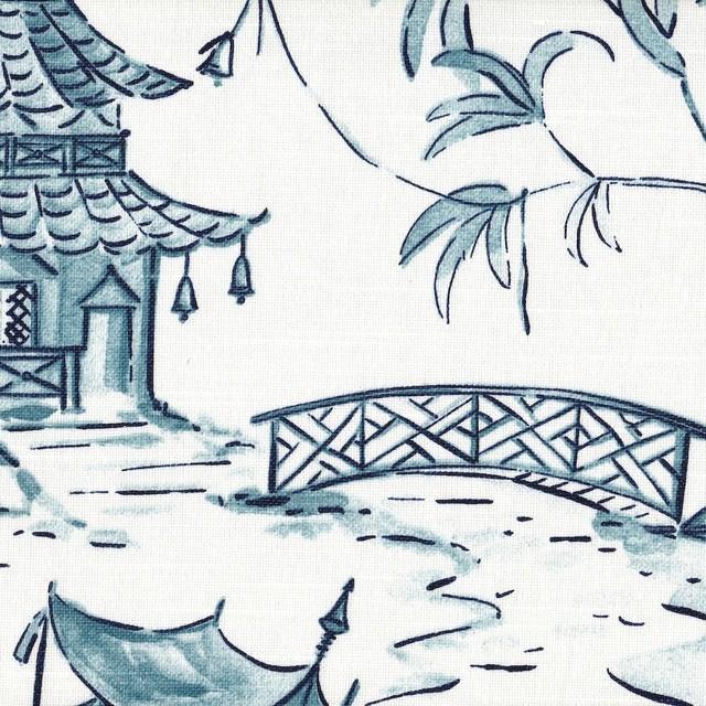 Pagodas Seaside Blue Oriental Toile Shower Curtain Cotton - Asian ...