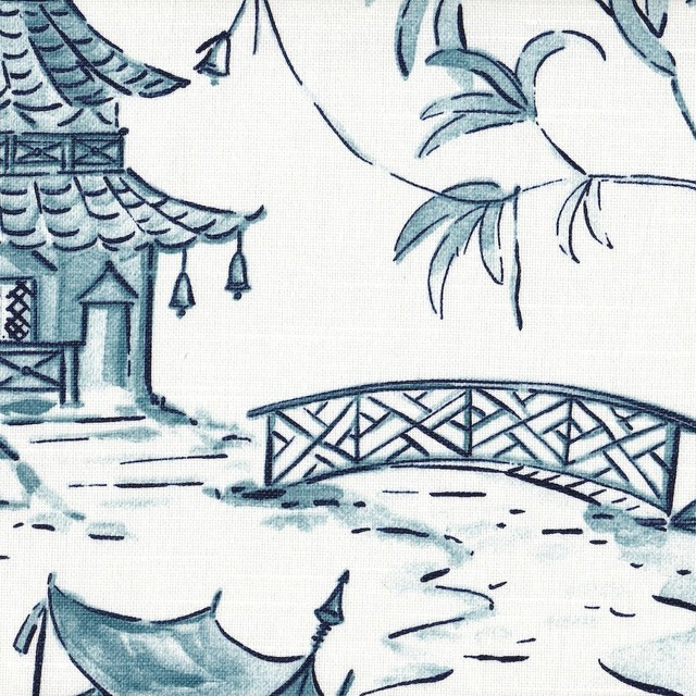 Pagodas Seaside Blue Oriental Toile Empress Swag Valance Lined Cotton.
