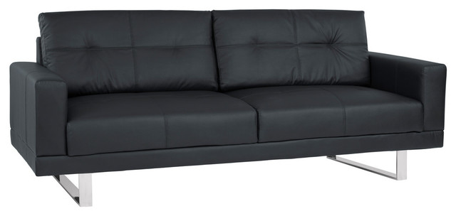 Armen Living Lincoln Mid-Century Tufted Faux Leather Sofa With Chrome Legs