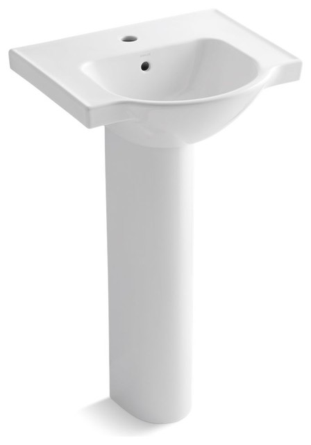 Veer 21 Pedestal Bathroom Sink With Single Faucet Hole, White.