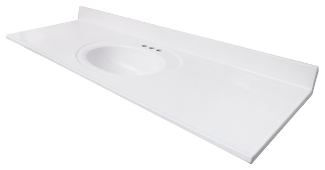 61x22 Solid White Vanity Top Traditional Tops And
