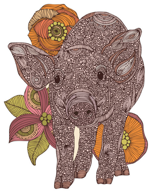 Floral Pig Art Wall Sticker Decal By Valentina Harper, X-Large.