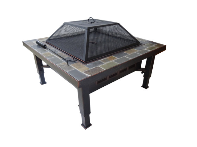 Global Outdoors 34 Adjustable Leg Square Slate Top Fire Pit With Screen Cover Transitional Fire Pits By Global Outdoors Inc