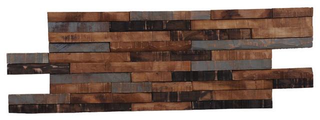 """23.62""""x7.87"""" Kayu Rustica Teak Wall Tiles, Set Of 10."""