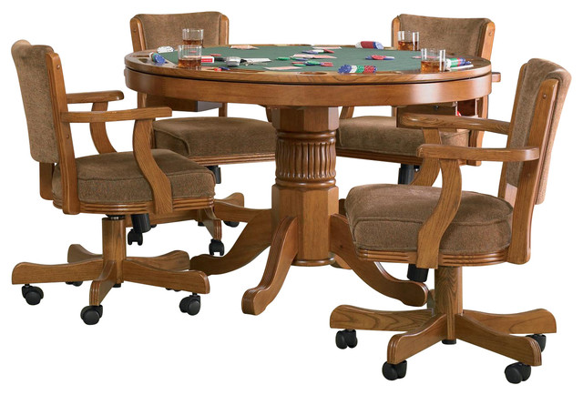 Coaster Mitchell 5 Piece 3 In 1 Game Table Set, Oak Traditional
