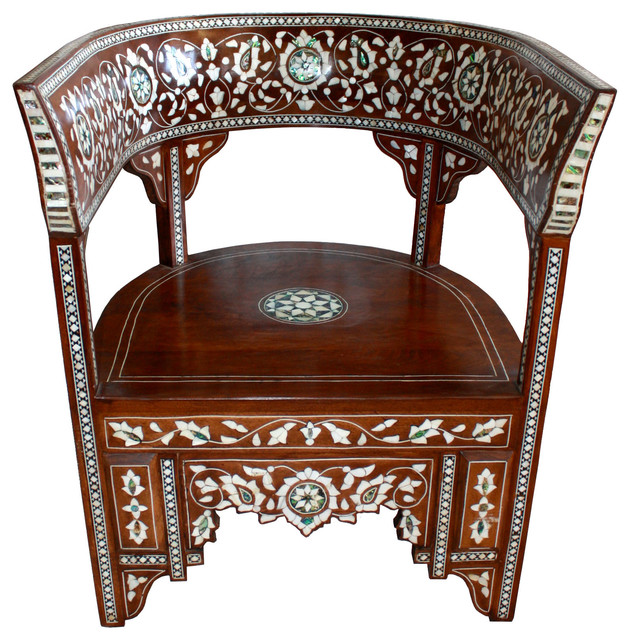 Syrian Mother Of Pearl Inlaid Handcrafted Chair