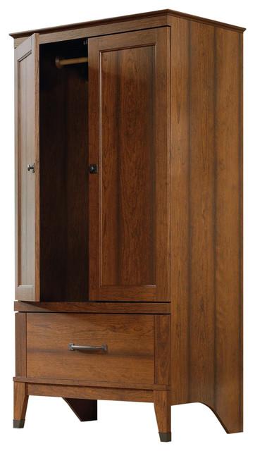 Bedroom Wardrobe Cabinet Armoire With Garment Rod, Medium Cherry Finish.