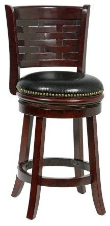 Mintra Cappuccino Woven Back 24 Swivel Counter Stool Transitional