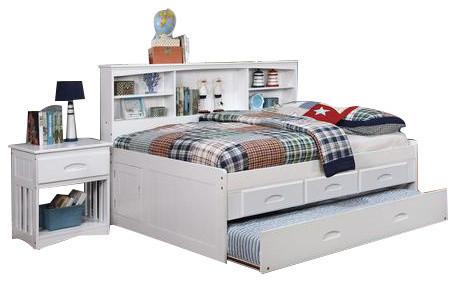 Full Size Storage Bed, White, 2.