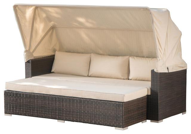 GDF Studio Grayson Outdoor Aluminum Wicker Sofa and Canopy, /Beige