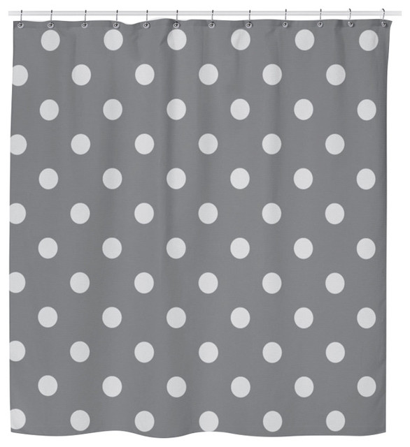 Gray Polka Dot Shower Curtain