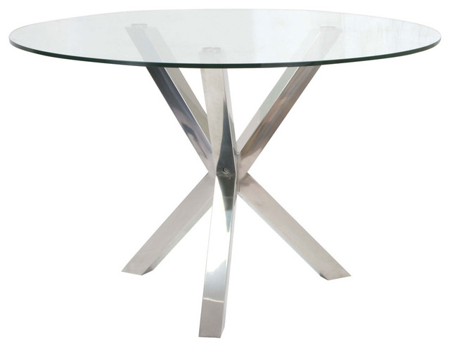 Redondo round glass dining table stainless steel base for Round glass dining table