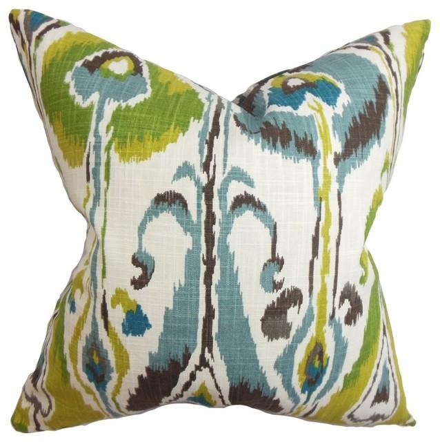"""Gudrun Ikat Pillow Blue Green 18""""x18""""."""