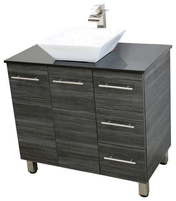 Cape Mason Freestanding Vanity, Dark Gray, Black Granite Counter, 48.