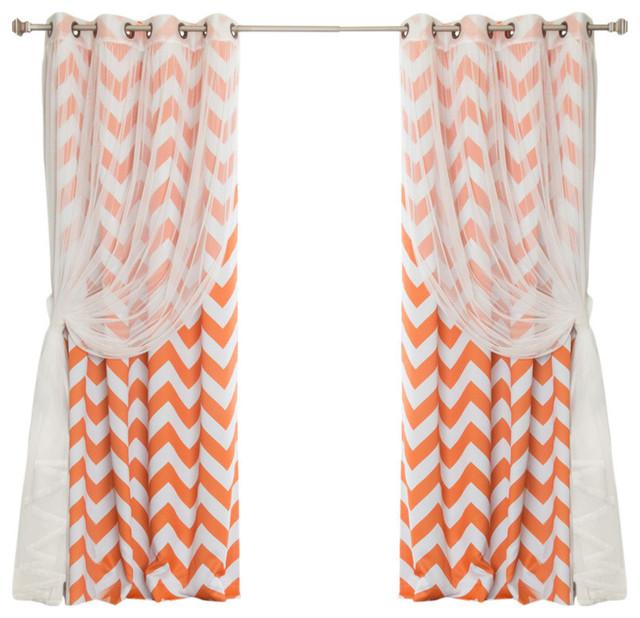 Tulle Lace And Chevron Print Blackout (4-Pc Set), Orange.