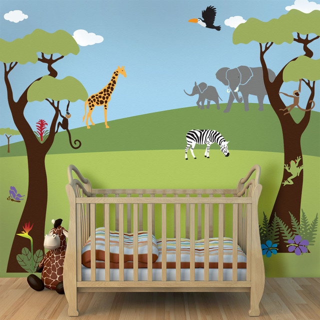 Wonderful Jungle Safari Theme Stencil Kit For Painting A Wall Mural Contemporary Wall  Stencils